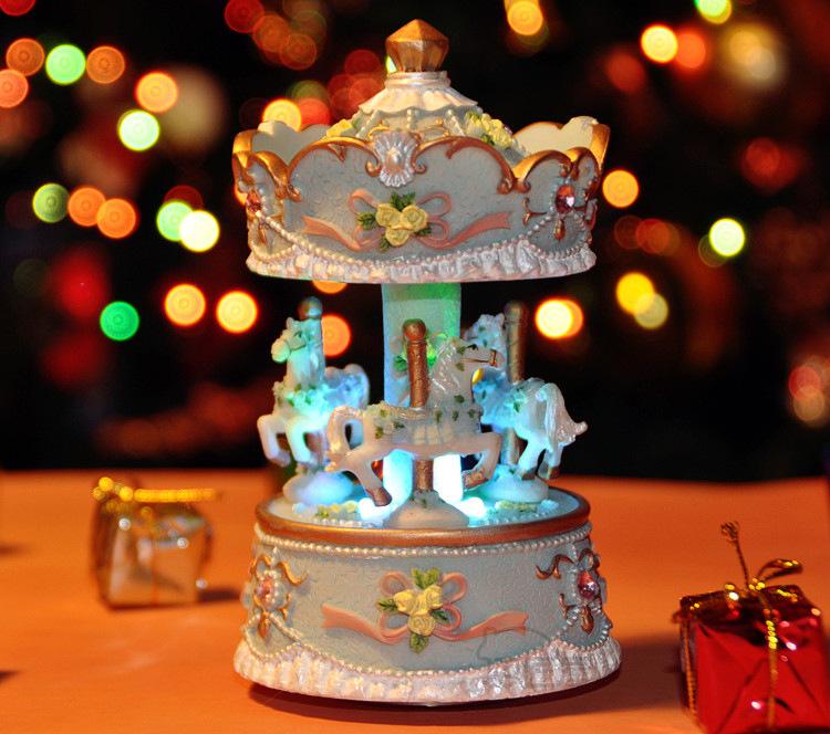 发光带灯旋转木马音乐盒八音盒创意生日圣诞礼物精品送闺蜜女朋友