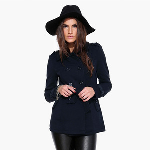 Europe and cultivate one's morality show thin double-breasted coat belt long sleeve cloth coat