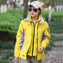 户外女款冲锋衣防风防水抓绒两件套登山服三合一秋冬季保暖外套