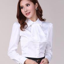 雪纺衬衫秋冬新品上市 蝴蝶结白色长袖衬衫女 气质韩版修身衬衫女