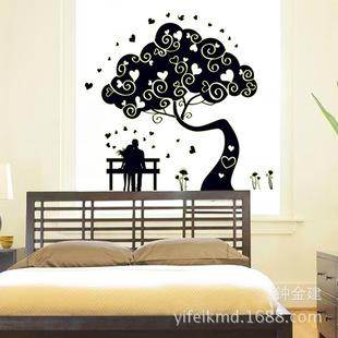 婚房夜光贴卧室背景墙装饰壁贴新款墙贴时尚DIY贴纸情侣树ABQ9610