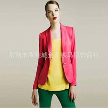 韩版爆款修身糖果色一粒扣女小西装修身外套新款西服外贸低价批发