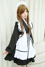 同款牧牧的铺子。日式和风女仆装黑白色改良和服妹抖装 日本动漫