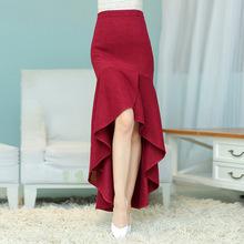 秋冬新款甜美加厚包臀長裙高腰修身顯瘦打底魚尾裙羊毛呢半身裙
