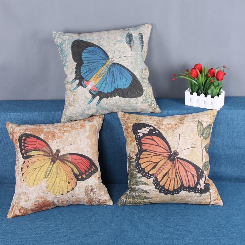 棉麻抱枕 厂家直销一件代发 蝴蝶系列厚磅亚麻靠垫 靠包 汽车抱枕