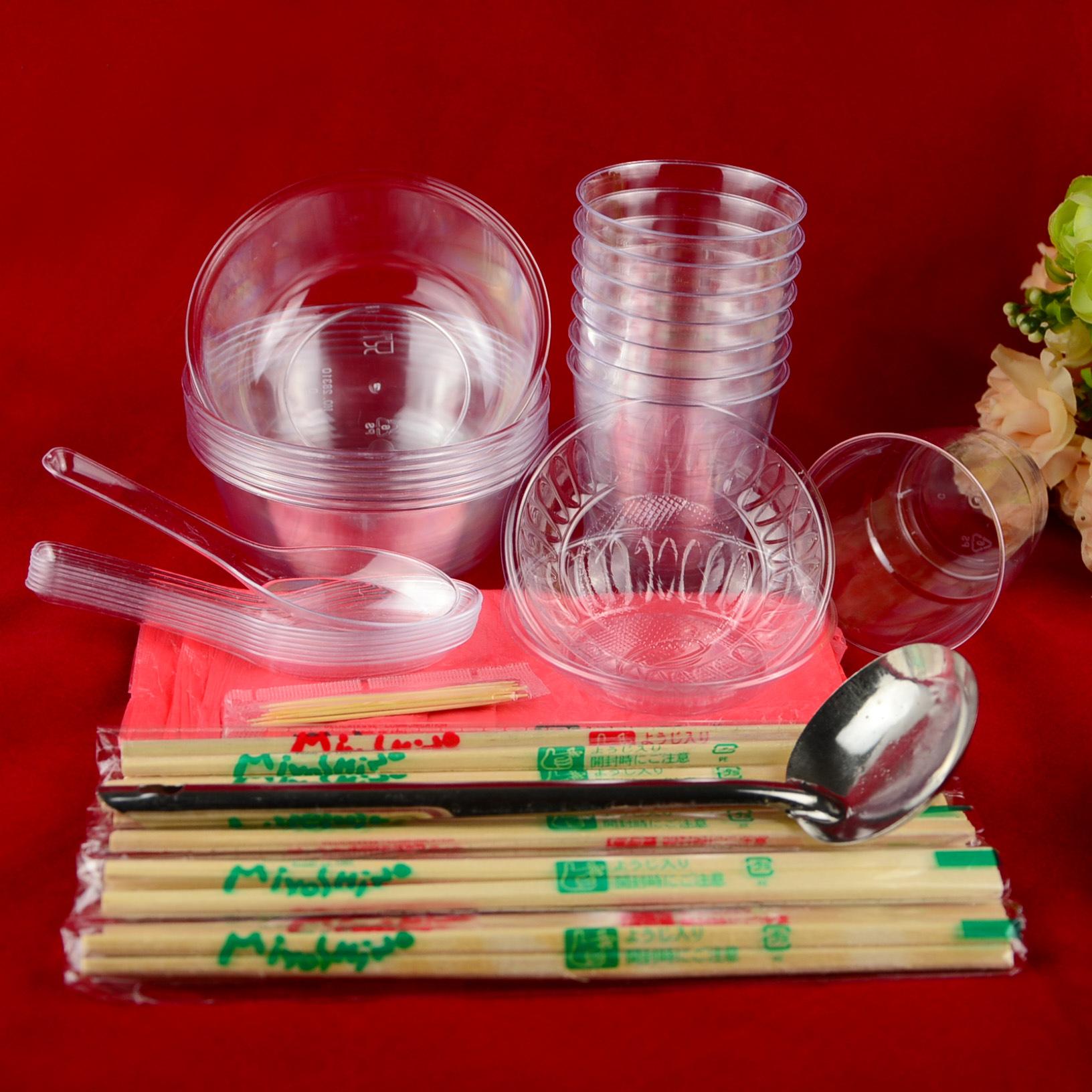 一次性餐具筷子套装 加厚结婚喜宴一次性水晶餐具 组合餐具十人份