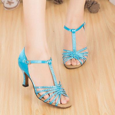 diamond Latin dance shoes female adult dance shoes national standard dance Ballroom dance square Satin soft bottom