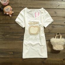 夏季新款立体苹果刺绣镶钻短袖修身女款T恤 服装批发厂家直销1791