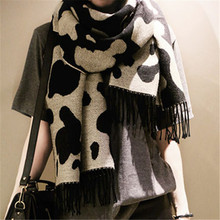 Autumn and winter cow markings casual scarf Women's versatile cashmere tassel long shawl