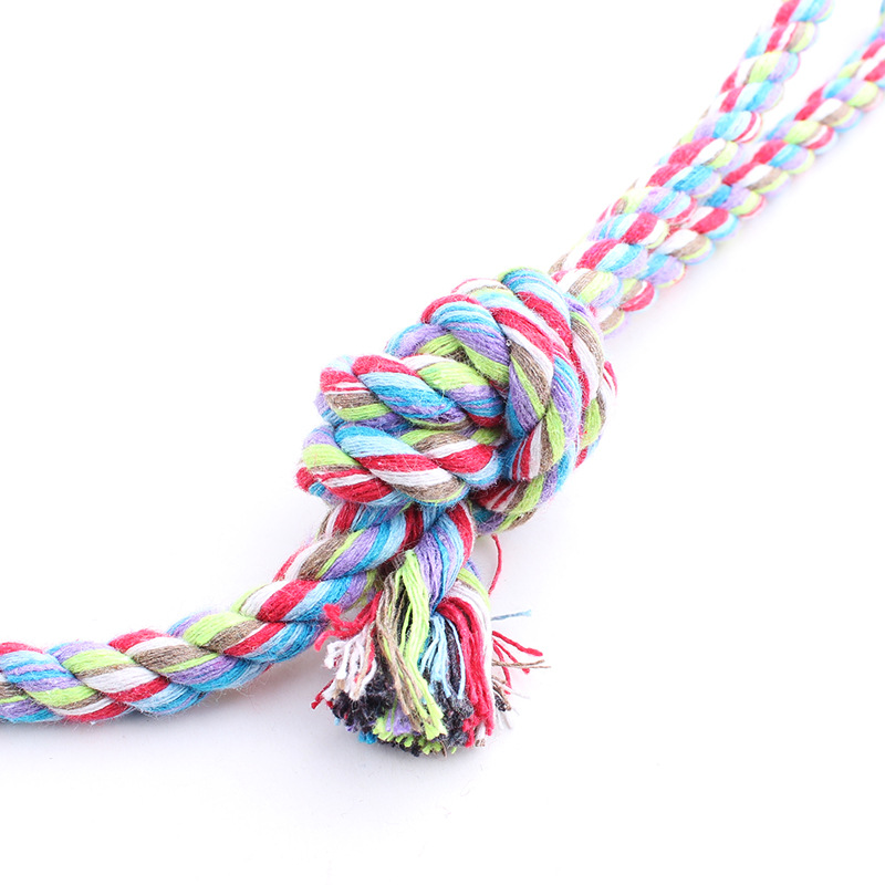 Colorful stripe made by cotton stripe with ball dog toy pet product
