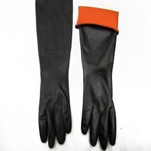 黑色耐酸碱工业乳胶手套加长加厚防滑防护劳保防水防化手套180克