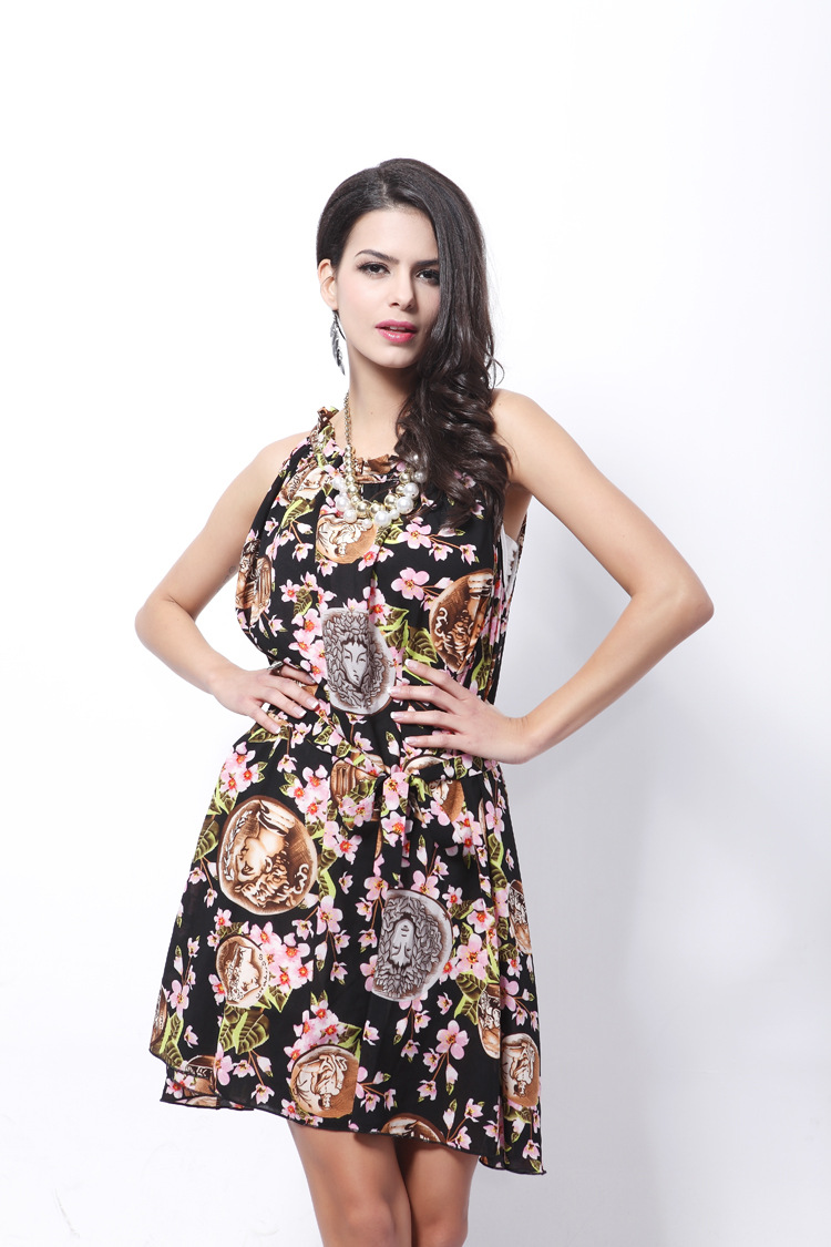Occident and the United States Chiffon printing clothing (Picture Color - Free Size)NHDF0357