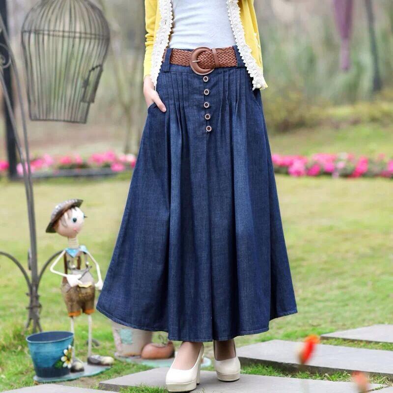 Compre Nueva Falda Larga De Mezclilla 2019 Falda Larga Falda Plisada Falda Plisada Femenina Delgada Versión Coreana De La Mezclilla De Gran Tamaño A