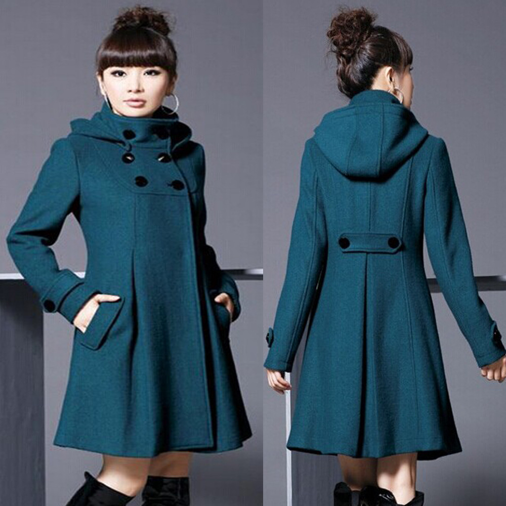 Women's Mid-length Hooded Double-breasted Cape Trench Coat