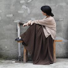 原创设计女式棉纱质感秋新款文艺范松紧腰半身裙 超长大摆 多色