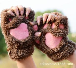 Catlike cute cartoon cat girls winter gloves mitts half finger gloves thick nap bear's paw