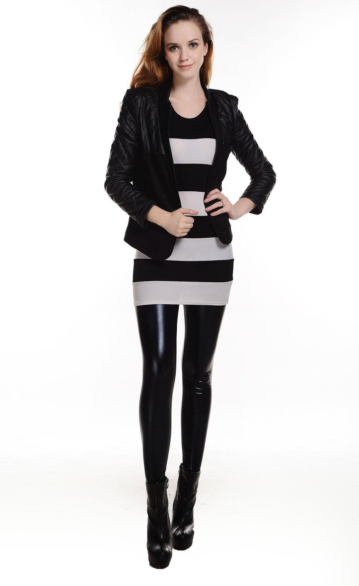Hot Fashion Women's Sexy Shiny Metallic Leggings Liquid ...