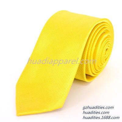 中国领带厂 纯色领带生产 黄色纯色领带F06