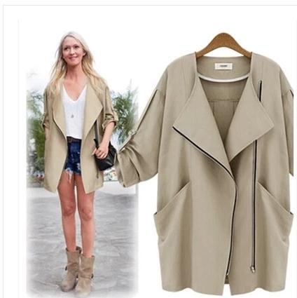 2014欧美新款女装时尚中长风衣款七分袖风衣薄款百搭休闲外套891