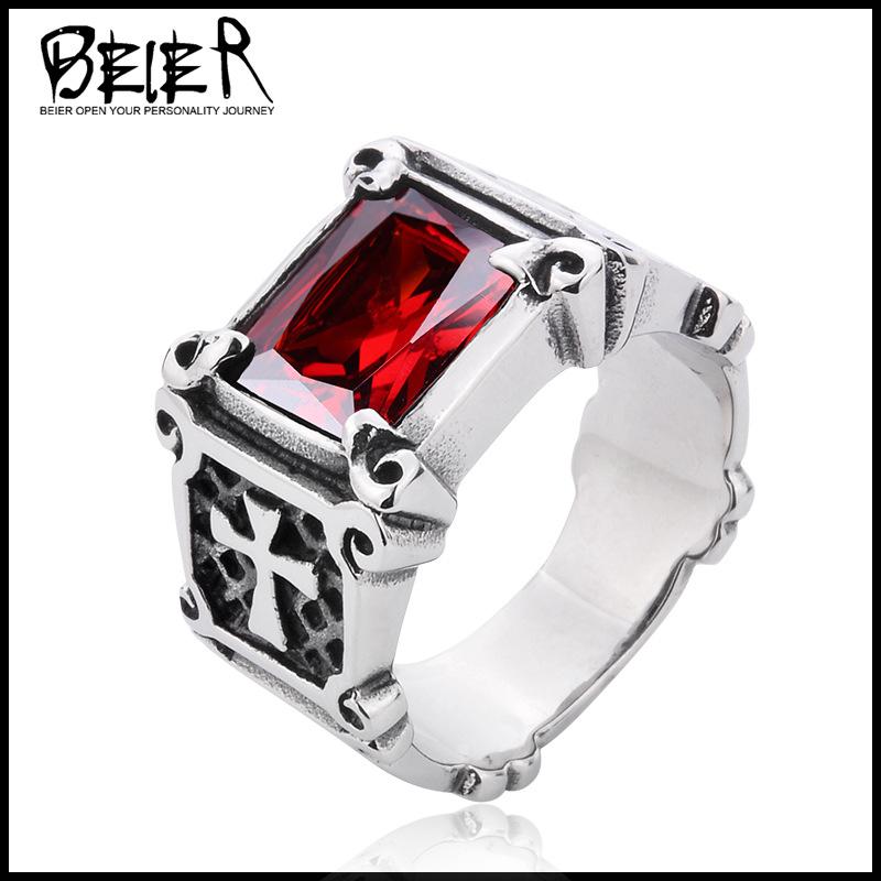 Beier популярный аксессуары оптовая торговля европа и америка ретро мужской тайский стиль кольцо titanium инкрустация циркон кольцо
