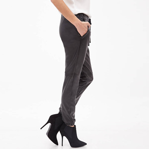 Europe and the United States STYLE fashion-forward knee open wire spell receives feet small waist with PU leather