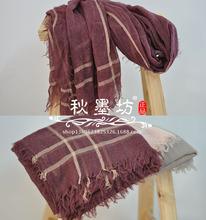 特价原单简单格子棉麻围巾 ?#20449;?#24773;侣纯色超大流苏披肩素色丝巾