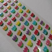 厂家定制滴塑葱粉透明卡通郁金香花朵不干胶标签