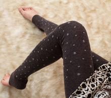 2015春季新款高彈駝絨點點雪花顯瘦踩腳褲打底褲保暖純色連褲襪女