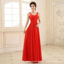 2015夏新款高档晚礼服红色长款抹胸新娘伴娘敬酒服晚宴舞会姐妹群