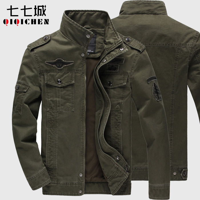 Spring And Autumn Wash Cotton Military Jacket
