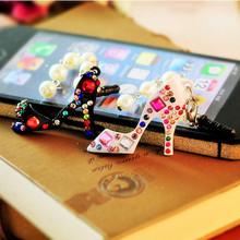 韓版手機飾品 時尚小巧 簡約滿鉆手機鏈 高跟鞋珍珠手機掛件批發
