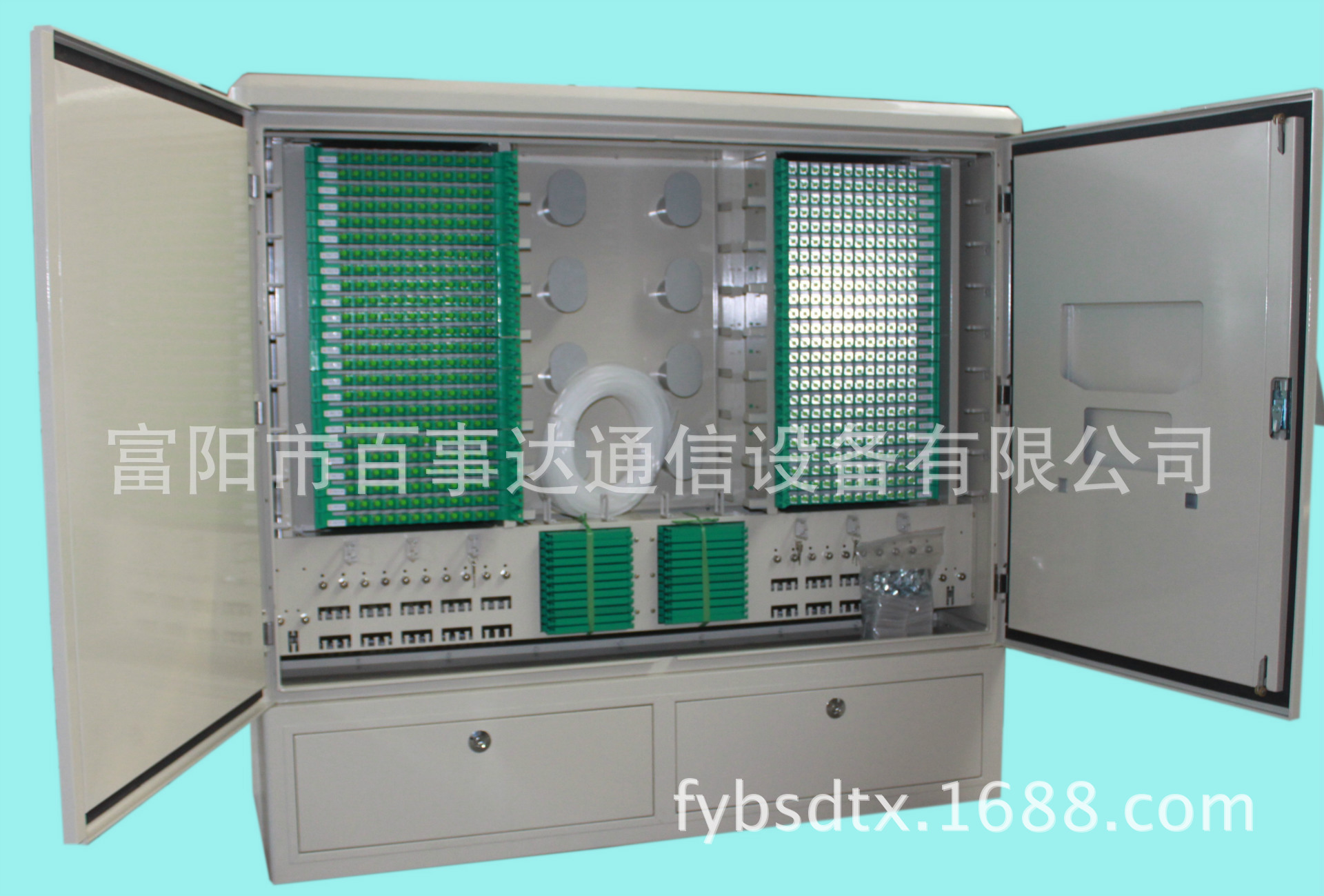 厂家直销百事达通信设备576芯单面不锈钢光缆光纤交接箱左右模块