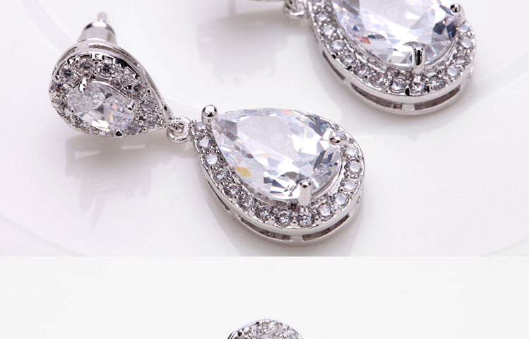 Fashion Zircon plating Earrings(White -03F06)NHTM0160-White -03F06