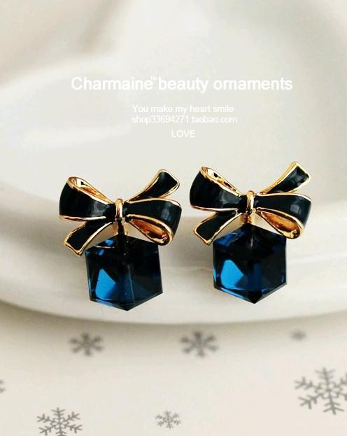 Rubik cube box bow earrings hypoallergenic earrings wholesale Crystal NHCU196699