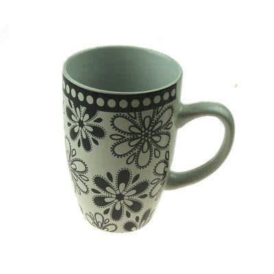 简约风格 烤花子弹头陶瓷马克杯 带盖大容量办公室用杯子 批发