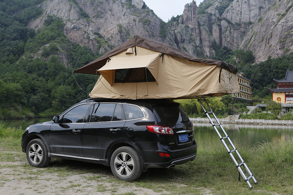 outdoor camping tent traveling by car the soft top canvas tent roof tent car tent tourism large. Black Bedroom Furniture Sets. Home Design Ideas