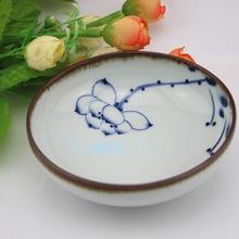 景德镇陶瓷餐具 高档手绘仿古青花荷花陶浅碗