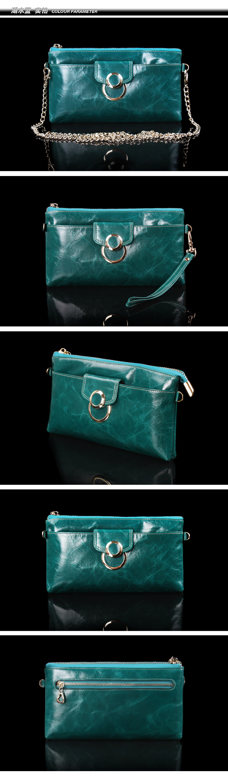 leather wallet with chain for women