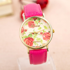 Popular Rose Flower Student Watch Pastoral Leisure Lady PU Watch