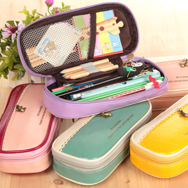 Details about PU School Student Stationery Canvas Pen Bag Pencil Case Cosmetic Travel Makeup