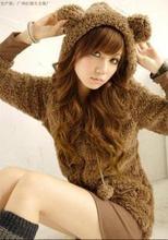 韩版女装人气爆款可爱熊宝宝兔耳朵毛绒连帽外套