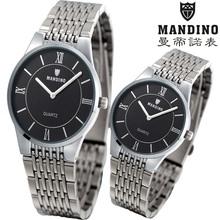 曼帝諾超薄手表男士防水鋼帶潮流石英表運動非全自動機械表