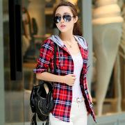 2017新款女装 秋季修身中长款 格子衬衫女 连帽衬衣 韩版长袖衬衣