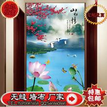 3D大型壁画 山水情玄关壁画 电视山水瀑布背景墙 无缝壁画影视墙