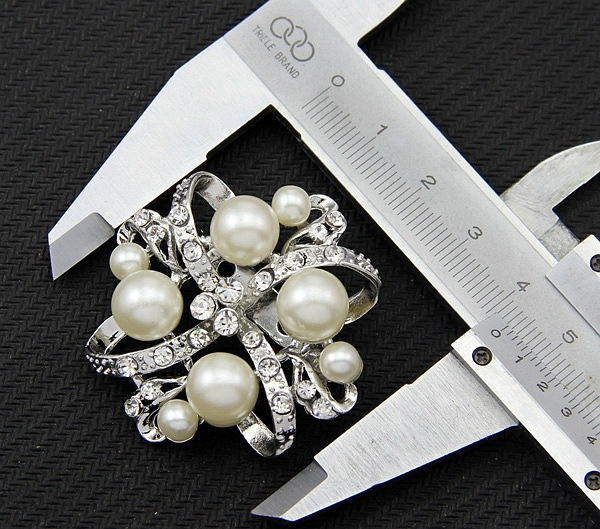 Korean version alloy plating brooch (White Pearl Aa002-A)NHDR1845-White Pearl Aa002-A