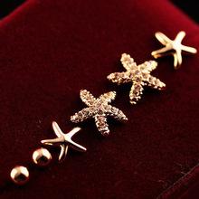 新款韩版饰品批发精美流行三件套饰品满钻海星耳钉批发耳饰