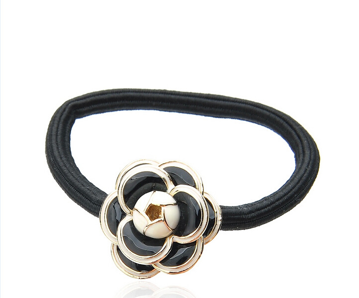 Camellia hair ring alloy flower hair rope NHDP185754