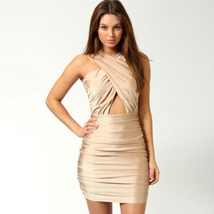 Europe and the United States show thin and sexy strapless package hip chest crossover design fold sleeveless dress skirt