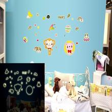 厂家墙贴DIY时尚夜光墙贴 荧光贴卡通儿童房卧室外星总动员 Y0011