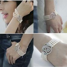 女多層珍珠滿鑽玫瑰花義烏韓國飾品廠家批發 手鏈時尚王妃鍾愛韓